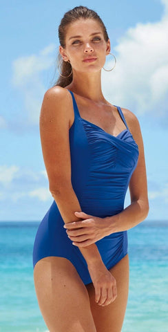 Tommy Bahama Pearl Solid Halter Twist Front One Piece In Blue TSW31027P-15382VB