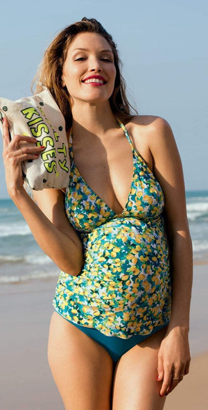 Anita Kamaka Maternity Tankini Set in Lemon Print 9625-204: