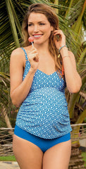 Anita Lelepa Maternity Tankini Set in Cornflower Blue 9676-319 front lifestyle