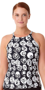 Anne Cole Plus Coming Up Floral High Neck Tankini Top 18PT20654-MULT: