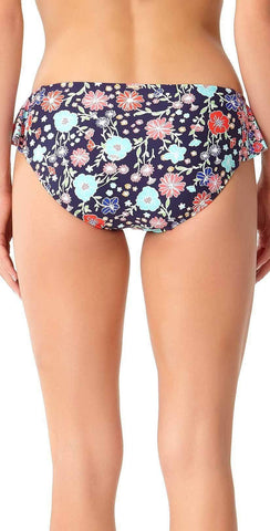 Anne Cole Lazy Daisy Side Flounce Bikini Bottom 18MB31160-NAVY