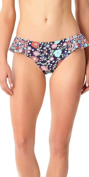 Anne Cole Lazy Daisy Side Flounce Bikini Bottom 18MB31160-NAVY: