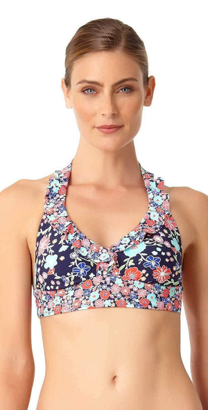 Anne Cole Lazy Daisy Marilyn Flounce Halter Top 18MT10460-NAVY:
