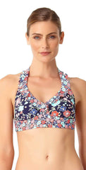 Anne Cole Lazy Daisy Marilyn Flounce Halter Top 18MT10460-NAVY front studio