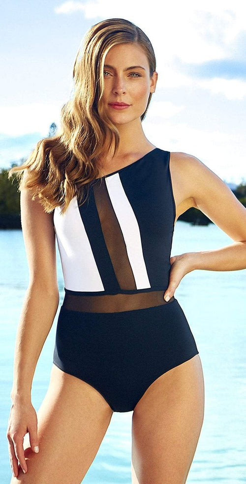 Anne Cole Hot Mesh Asymmetrical One Piece 18MO08004-Black/White: