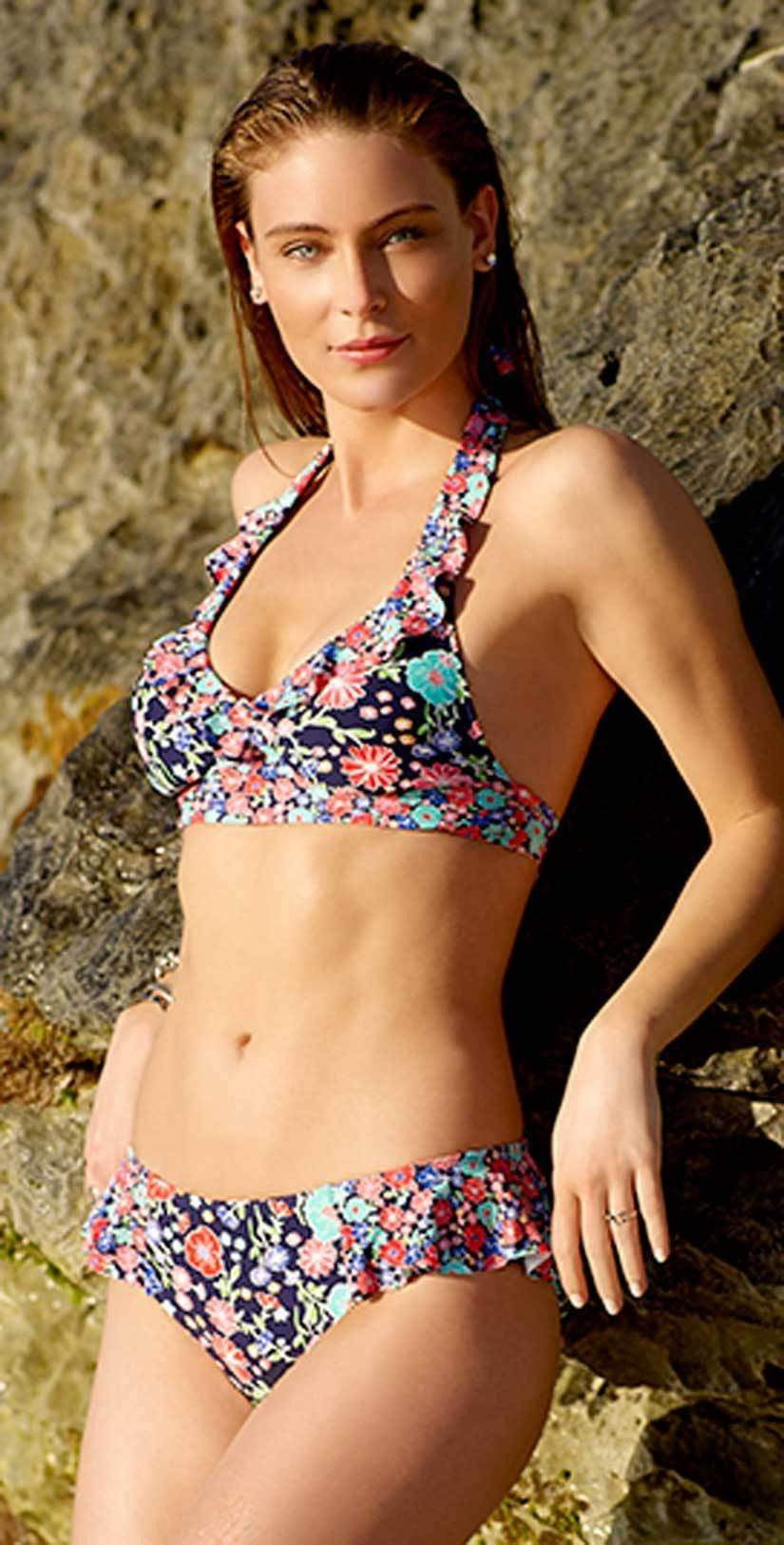 Anne Cole Lazy Daisy Side Flounce Bikini Bottom 18MB31160-NAVY front lifestyle