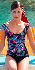 Anne Cole Off the Shoulder Wrap Tankini Top 18MT22356-Multi: