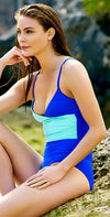Anne Cole Live in Color Wrap Front Blue Maillot 18MO06701-Blue: