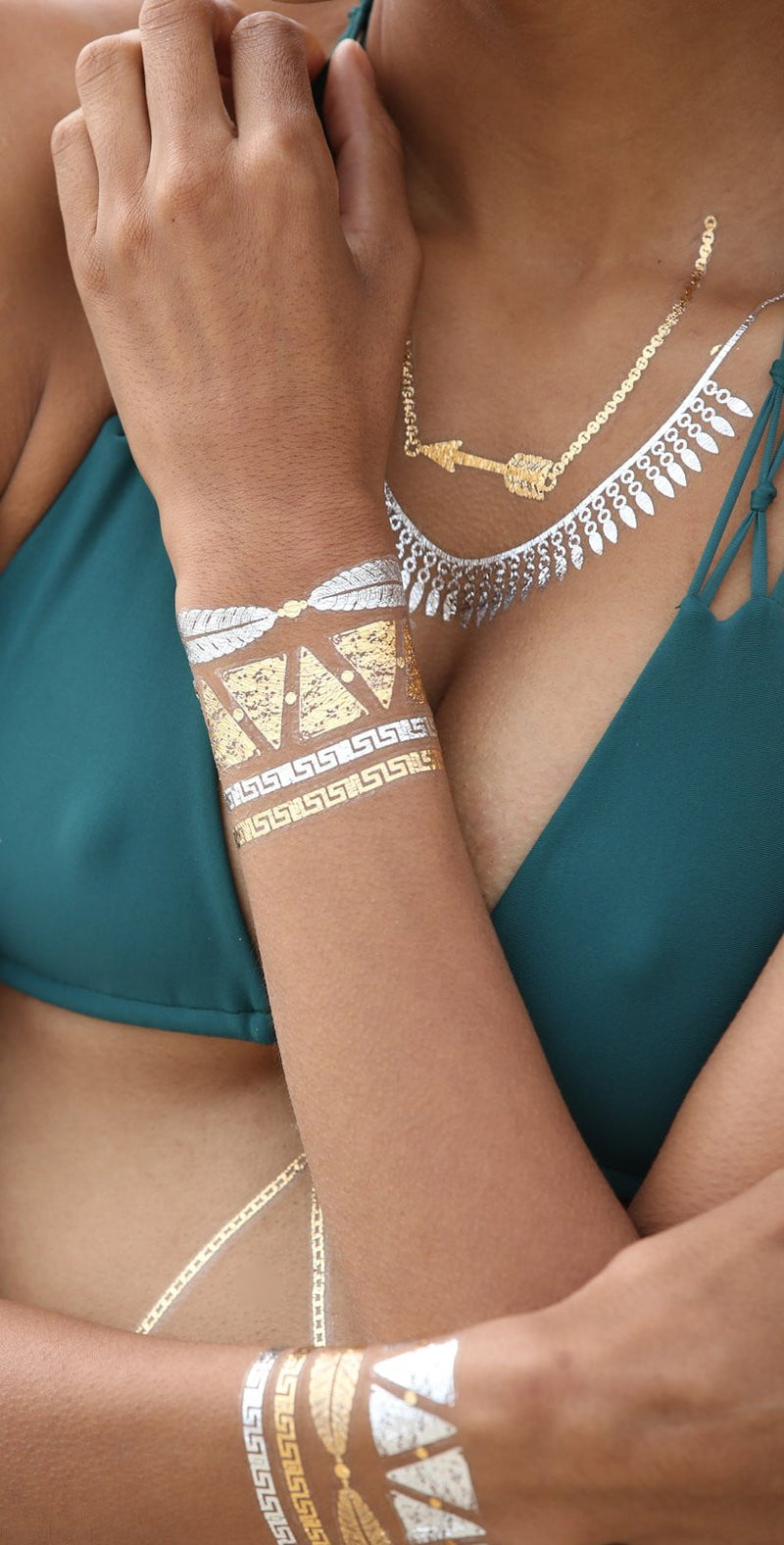 Sobe Tatts Athena Goddess Temporary Metallic Tattoos Pack: