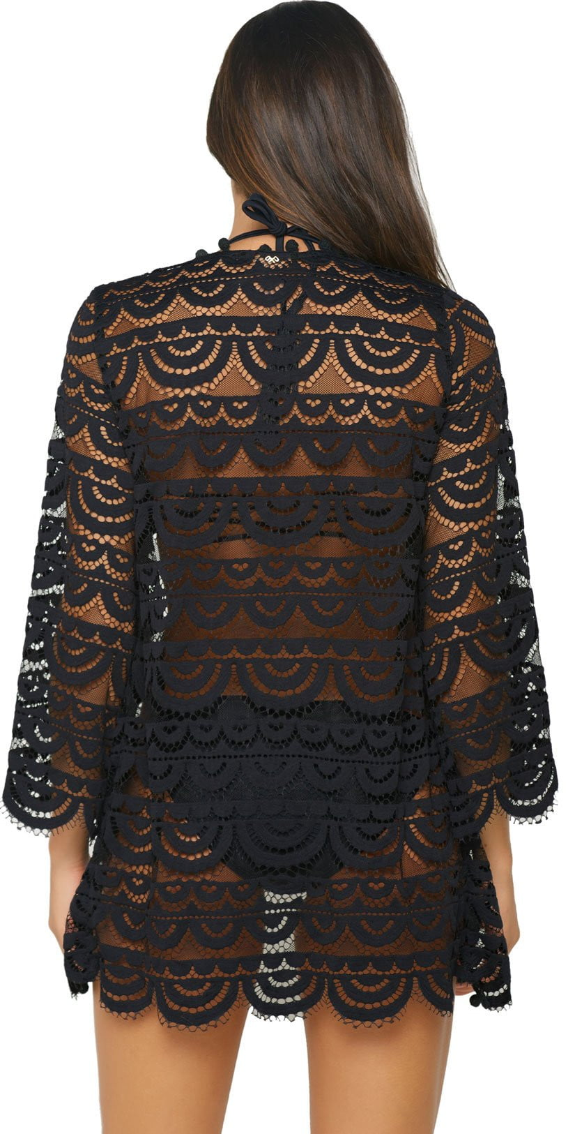 PilyQ Black Lace Noah Tunic BKG-445D back studio