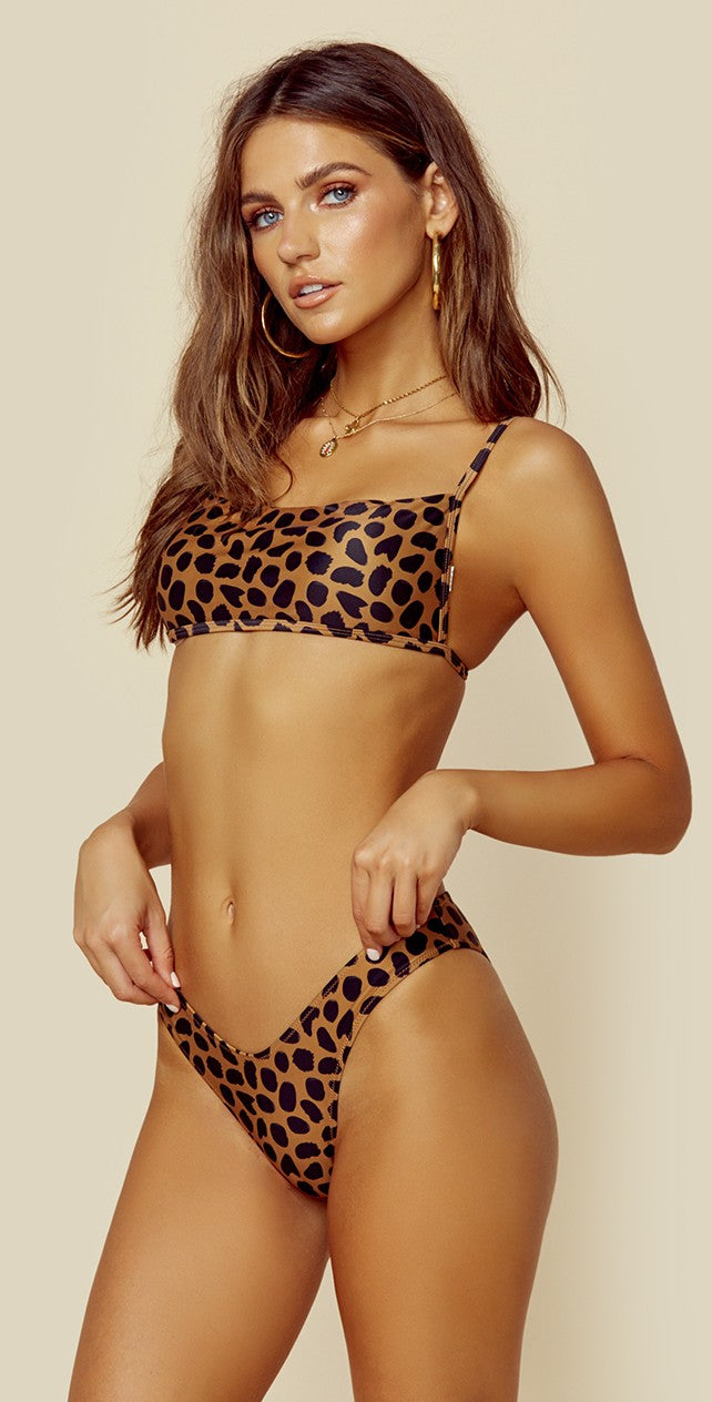 Blue Life Aria Bikini Top in Spotted Cheetah front