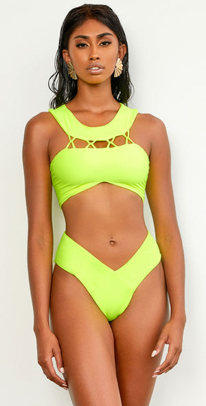 Keva J Neon Lights Bali Bikini Top in Neon Yellow