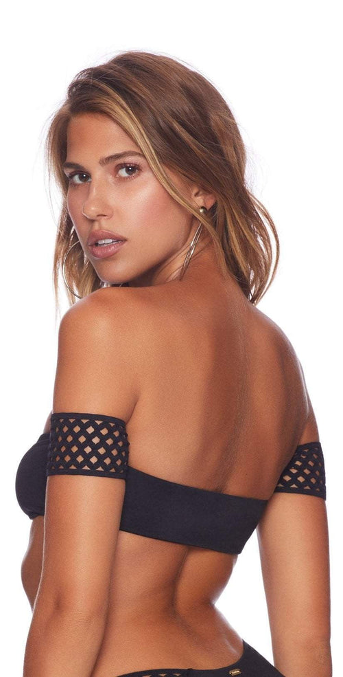 Beach Bunny Hayden Black off shoulder bikini top back