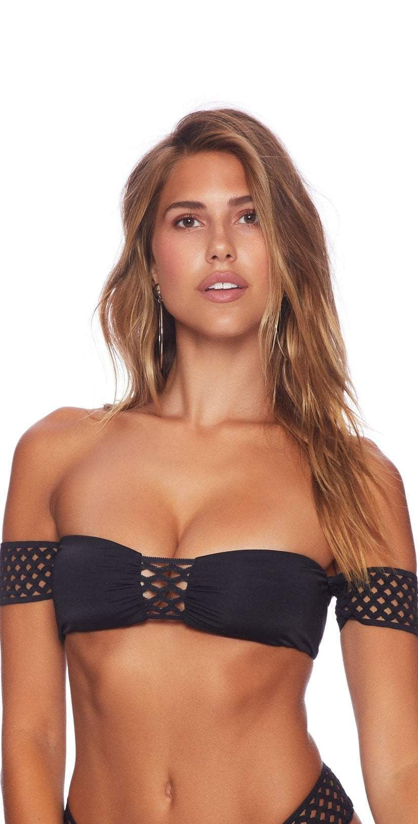 Beach Bunny Hayden Off Shoulder Bikini Top In Black B18110T9-BLK: