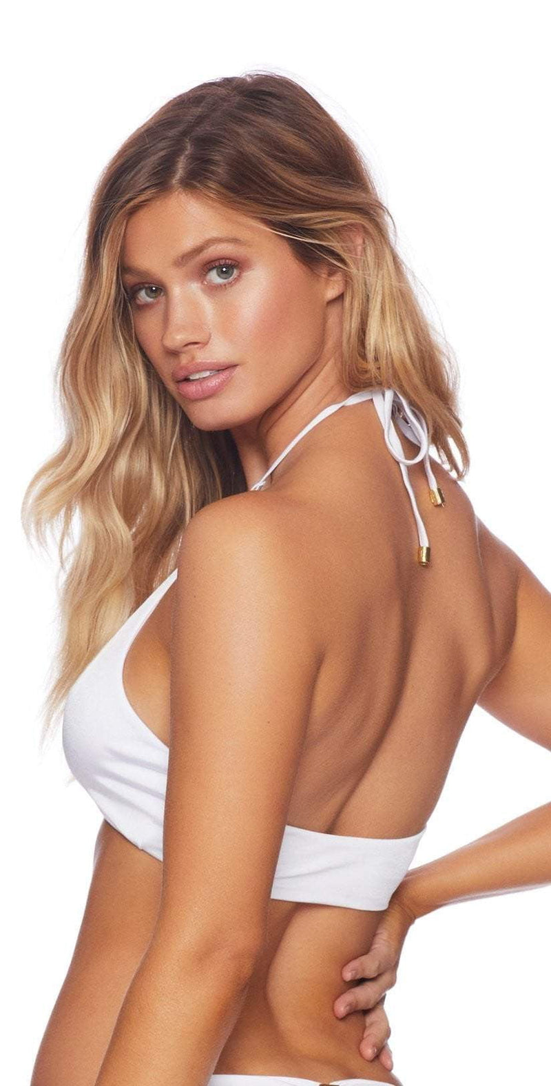 Beach Bunny Ireland Ring High Neck Top In White B18127T5-WHT: