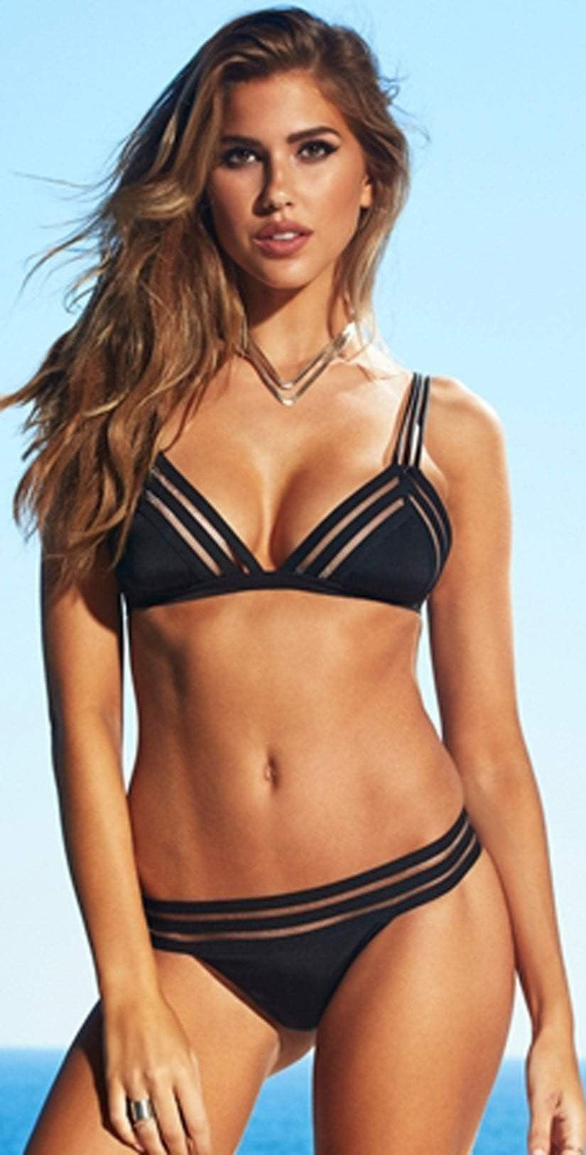 Beach Bunny Sheer Addiction Black Triangle Bikini