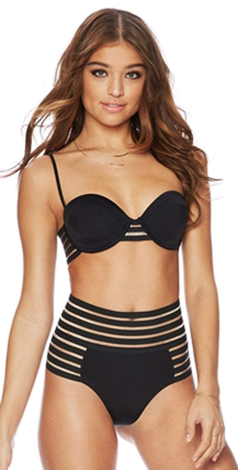 Beach Bunny Sheer Addiction Balconet Top B16125T6-BLCK