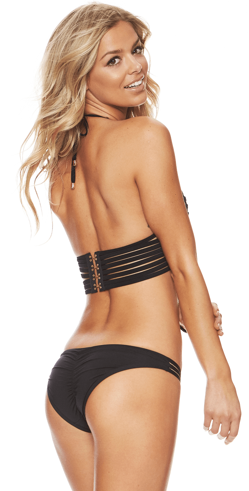 Beach Bunny Hard Summer Long Line Bikini Top in Black B16104T2-BLK: