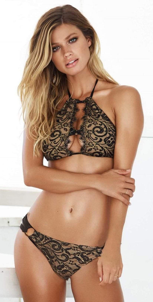 Beach Bunny Gunpowder and Lace High Neck Top In Black R1507T5-BK