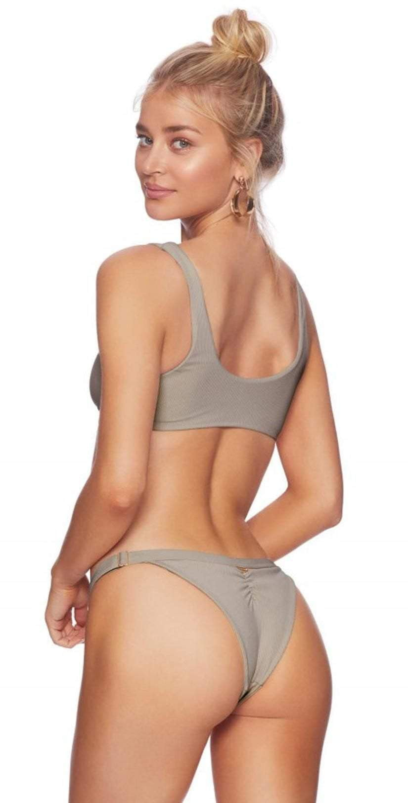 Beach Bunny Rib Tide Skimpy Bottom In Taupe B17125B2-TORT Back View