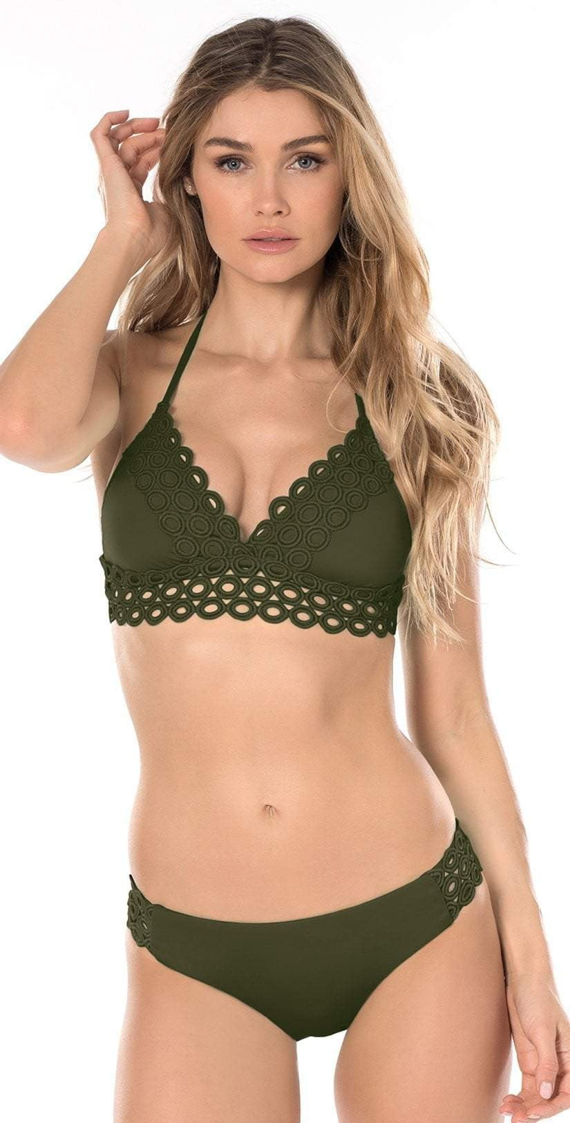 Becca Siren Halter Top in Bayleaf 583187-BAY: