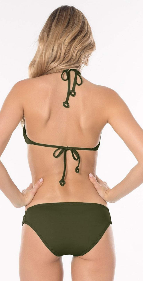 Becca Siren Halter Top in Bayleaf back view