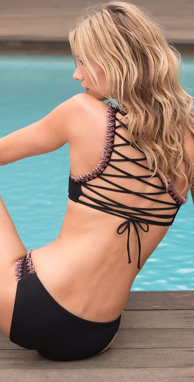 Women's black crochet trim one shoulder bikini