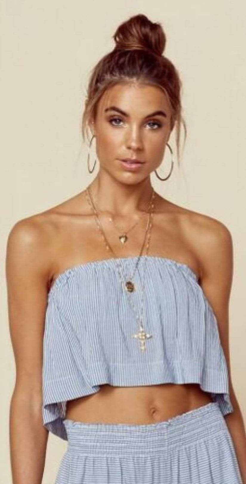 Blue Life Beach Bunny Denim Stripe Lina top front