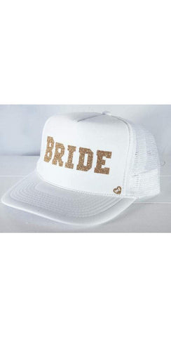 Mother Trucker Bride Hat in White With Gold Writing