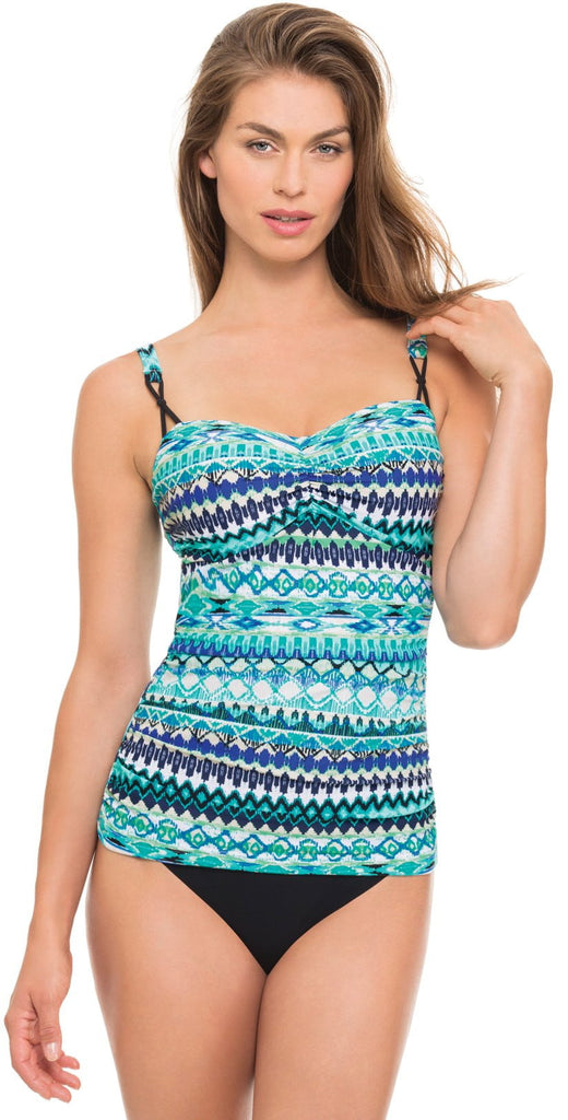 Profile by Gottex Bueno Vista Tankini Top in D and E Cup front model view