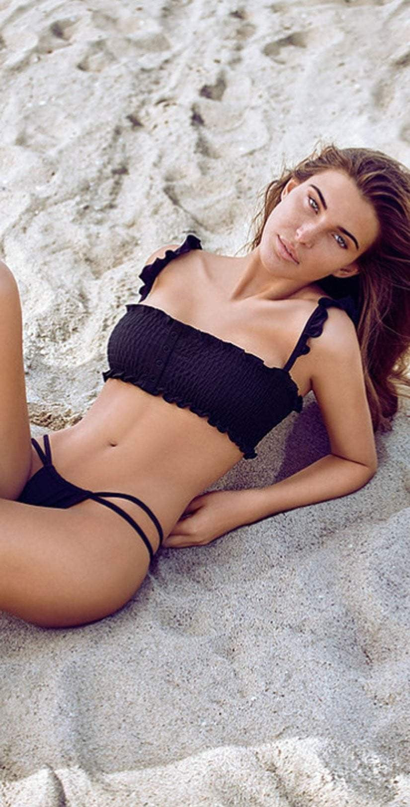 Chloe Rose Sweet Pea Bikini Set In Black: