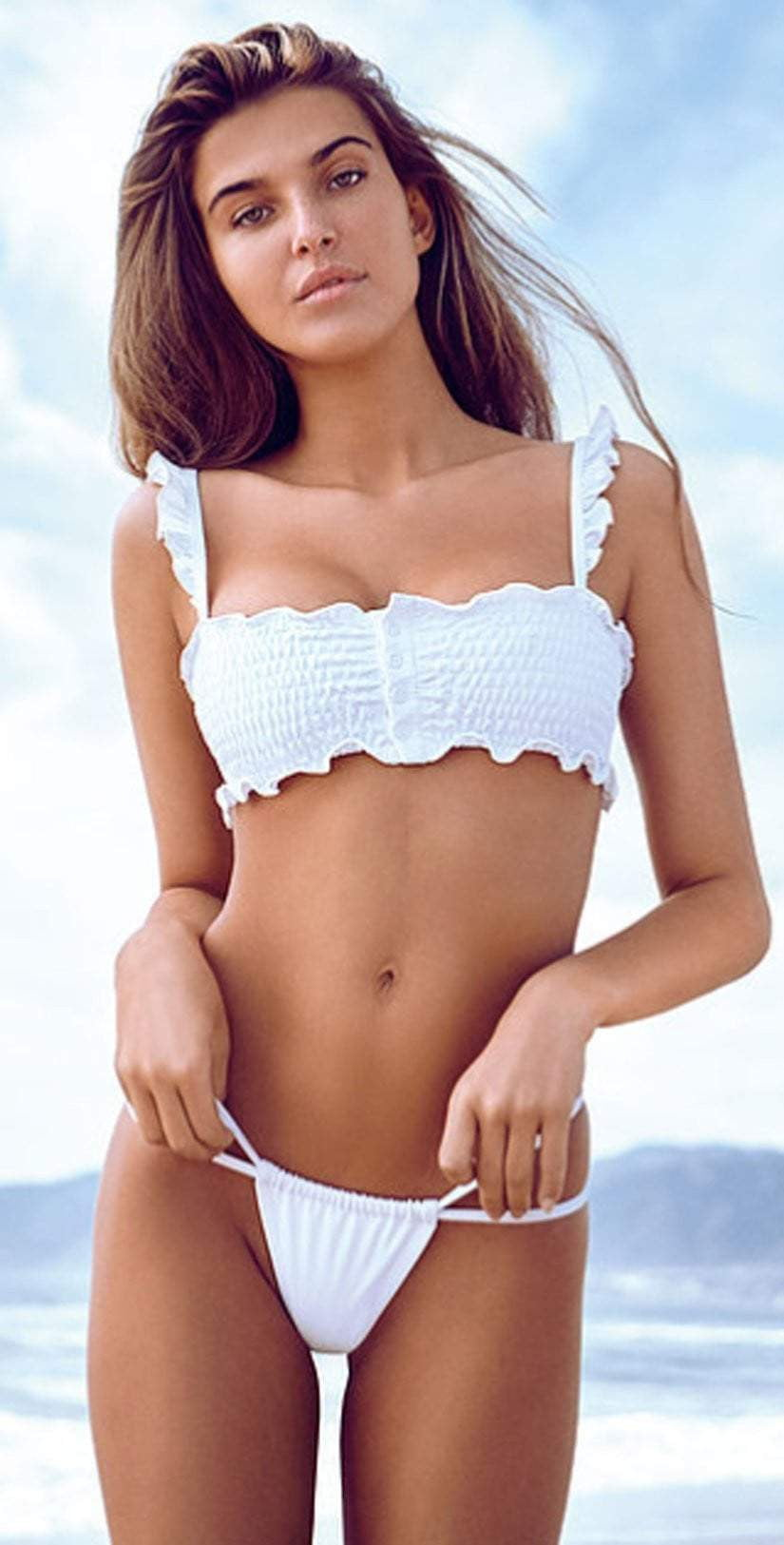 Chloe Rose Sweet Pea Bikini Set In White: