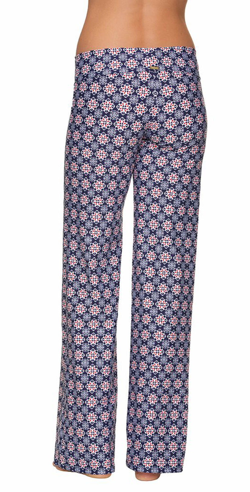 Helen Jon Fold-Over Beach Pant in Compass Geo back