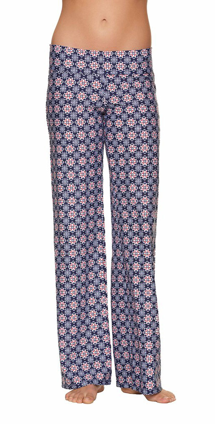 Helen Jon Fold-Over Beach Pant in Compass Geo front