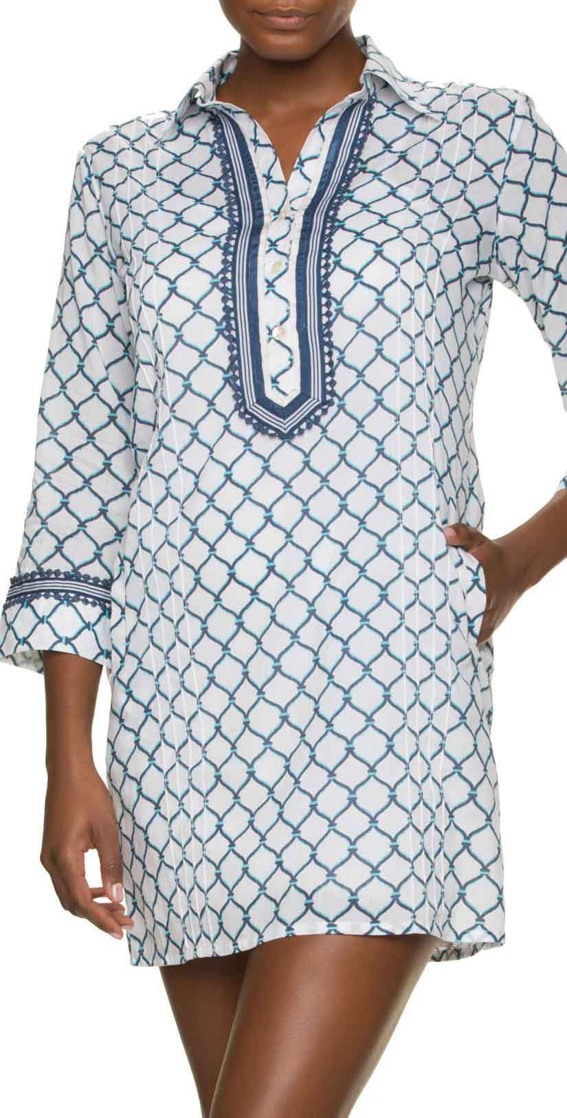 Helen Jon Corona Del Mar Embroidered Essential Shirt Dress: