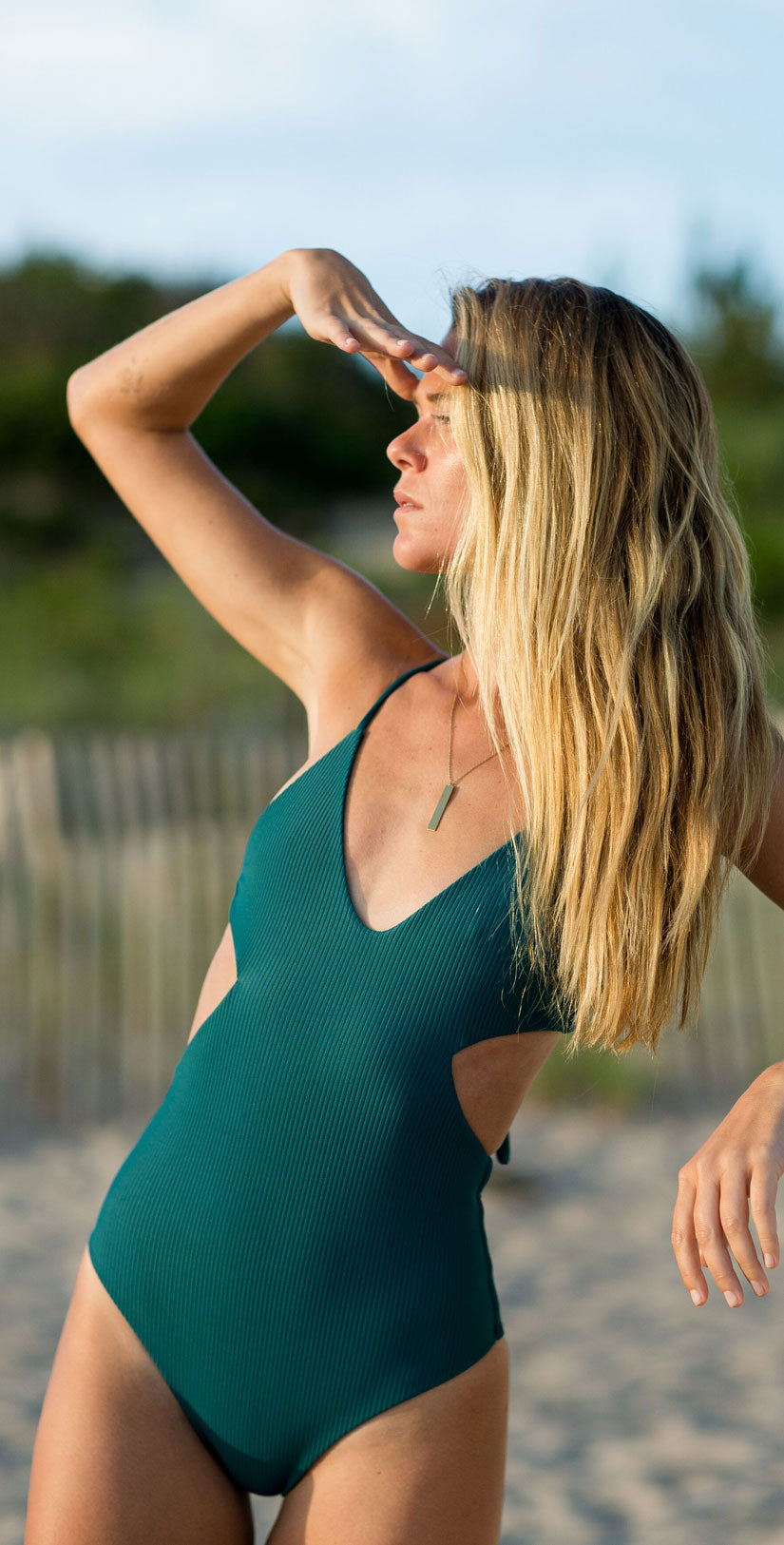 Summer Label Sayulita One Piece in Ribbed Gem front