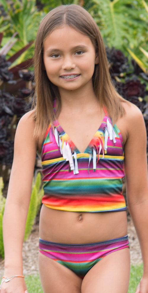 PilyQ Kids Maya Fringe Tankini Set MAY-813T:
