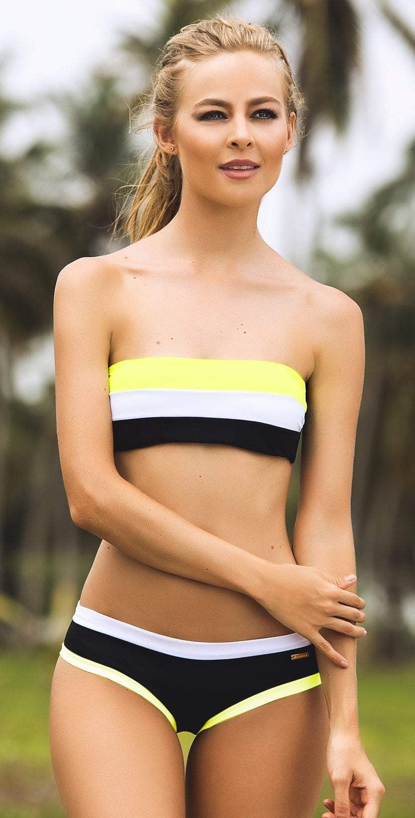 Dulzamara Pinecone Color Block Bikini Set: