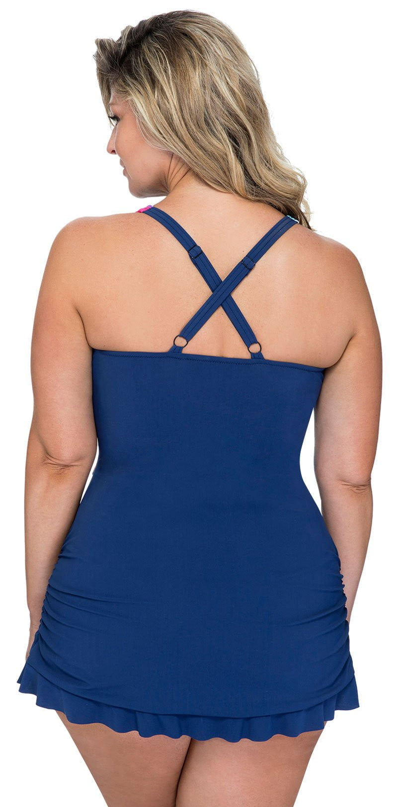 Profile by Gottex Bermuda Breeze Skirted Bottom One Piece E931 2W01 080 plus size back view