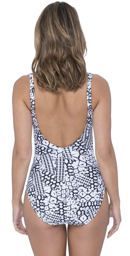 Profile by Gottex Tribal Batik One-Piece Swimsuit E9352081-002 back studio model