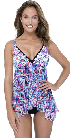 Profile By Gottex Tutti Frutti Halter Tankini Top in Black