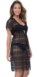 Profile by Gottex Tutti Frutti Crochet Dress in Black E940 3024 001: