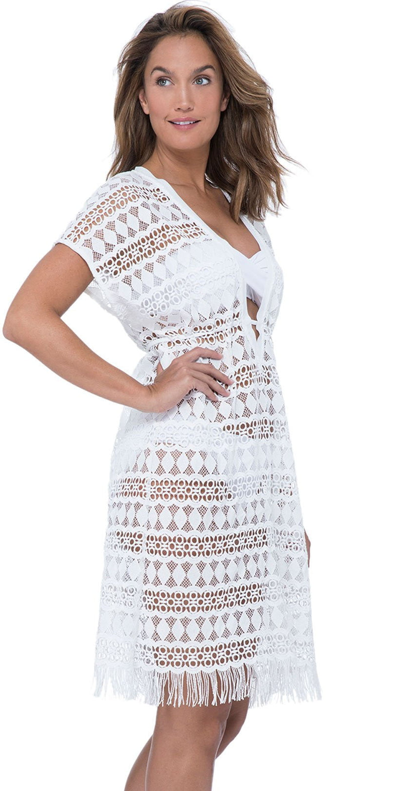 Profile by Gottex Tutti Frutti Crochet Dress in White E940 3024 100: