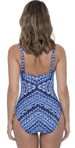 Profile by Gottex Folklore Underwire One Piece E946 2D37 086-Blue: