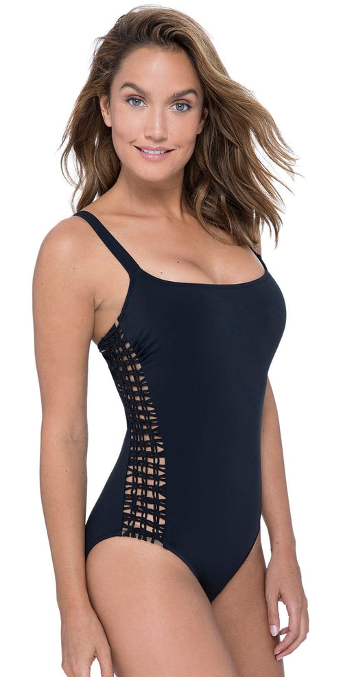 Profile By Gottex Fishnet Scoop Neck One Piece Swimsuit E948 2D37 001 D Cup: