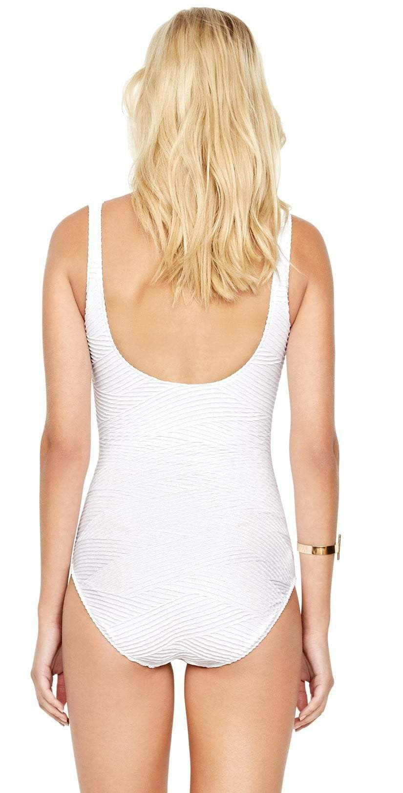Gottex Essence Square Neck Tank One Piece Swimsuit in White 18EN-173U-100: