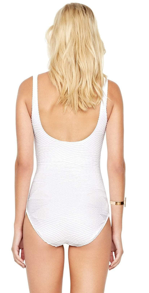 Gottex Essence Square Neck More Coverage Tank One Piece Swimsuit in White 18EN-173U-100 back view