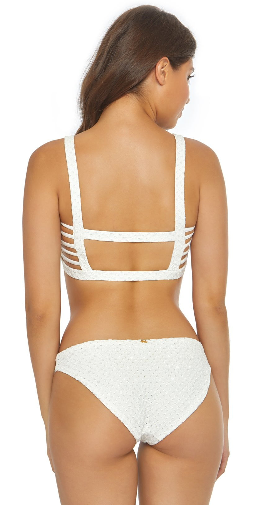 PilyQ Eyelet Caged Bikini Top EYE-305H White: