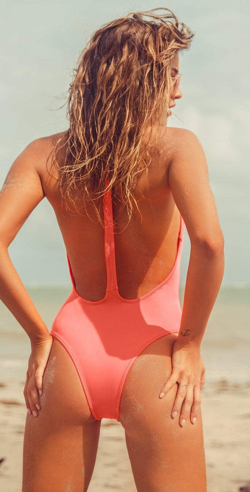 Peixoto Flamingo Latin One Piece Swimsuit in Pink Lemonade 1302L-S55 back view  lifestyle