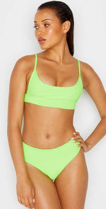 Frankies Bikinis Gavin Bikini Bottom In Acid Green: